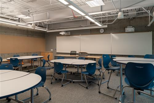A classroom with reconfigurable furniture