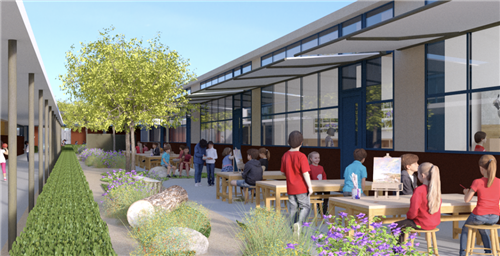 Will Rogers Campus Plan rending of outdoor space.