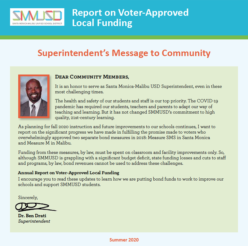 Superintendent's Report on Voter-approved Local funding