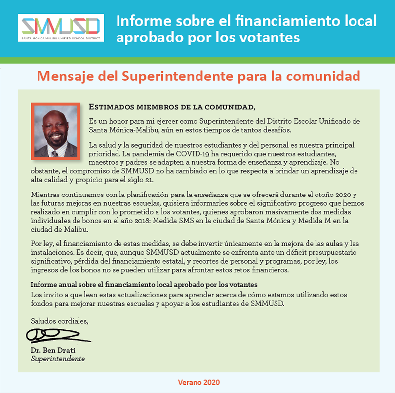 Dr. Drati Bond Measure Message in Spanish