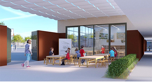 Illustration of a proposed outdoor classroom for Will Rogers Learning Community